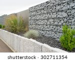 newly built gabions in the... | Shutterstock . vector #302711354