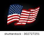 vector usa flag in grunge style ... | Shutterstock .eps vector #302727251