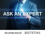 Small photo of business, technology, internet and networking concept - businessman pressing ask an expert button on virtual screens