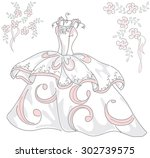 beautiful wedding dress in a... | Shutterstock .eps vector #302739575