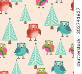 vector seamless pattern with... | Shutterstock .eps vector #302741627
