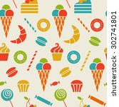 seamless pattern with sweet... | Shutterstock . vector #302741801