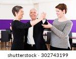 dance instructor with senior... | Shutterstock . vector #302743199