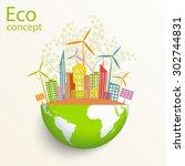 environmentally friendly world. ... | Shutterstock .eps vector #302744831