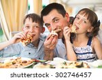 portrait of happy father with... | Shutterstock . vector #302746457