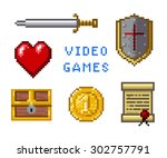 pixel game icons | Shutterstock .eps vector #302757791