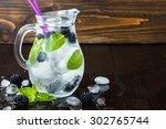 healthy detox flavored water... | Shutterstock . vector #302765744