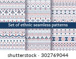 set of six tribal aztec... | Shutterstock .eps vector #302769044