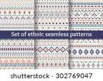 set of six ethnic seamless... | Shutterstock .eps vector #302769047