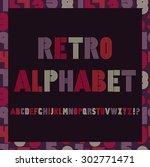 retro stripes funky fonts set... | Shutterstock .eps vector #302771471