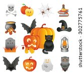 halloween illustration and... | Shutterstock .eps vector #302775761