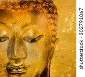 buddha statue on grunge... | Shutterstock . vector #302791067
