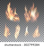 set of bright realistic fire... | Shutterstock .eps vector #302799284