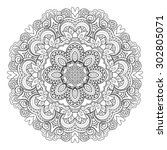 beautiful deco mandala. circle... | Shutterstock . vector #302805071