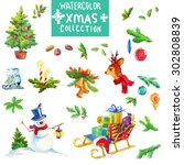 christmas decoration elements ... | Shutterstock . vector #302808839