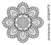 beautiful deco mandala. circle... | Shutterstock . vector #302809979