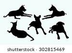 sitting dogs silhouette set | Shutterstock .eps vector #302815469