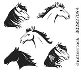 Stock vector running horse s head hand drawn vector illustration may be used as tattoo sketch or logo design 302827094
