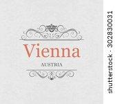 vienna austria .vintage frame.   Shutterstock .eps vector #302830031