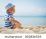 little baby boy sitting on the... | Shutterstock . vector #302836535
