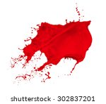 Red Paint Splash Isolated On...