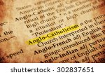 Small photo of Anglo-Catholicism word in old textured dictionary