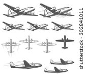 vintage airplanes from... | Shutterstock . vector #302841011