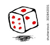 doodle dice  isolated on white  | Shutterstock .eps vector #302842031
