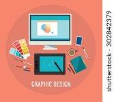 graphic design. desktop. vector | Shutterstock .eps vector #302842379