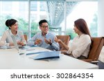 group on young vietnamese... | Shutterstock . vector #302864354