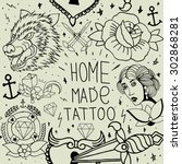 tattoo seamless pattern with... | Shutterstock .eps vector #302868281
