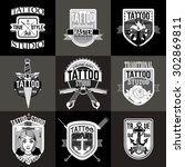 homemade tattoo logos and badges | Shutterstock .eps vector #302869811
