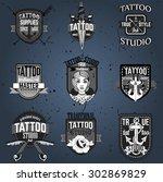 homemade tattoo logos and badges | Shutterstock .eps vector #302869829