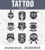 homemade tattoo logos and... | Shutterstock .eps vector #302869835