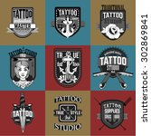 homemade tattoo logos and... | Shutterstock .eps vector #302869841