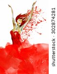 girl in red jumping. watercolor ... | Shutterstock . vector #302874281