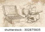 sketch of the cigars  skull ... | Shutterstock .eps vector #302875835
