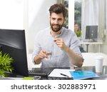 portrait of overworked young... | Shutterstock . vector #302883971