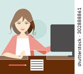 woman clerk in a bank office....   Shutterstock .eps vector #302888861