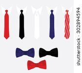 vector icon set tie and bow tie.... | Shutterstock .eps vector #302894594
