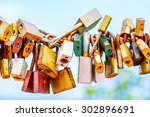 A Lot Of Love Padlocks On The...