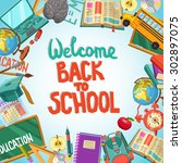 back to school flat design... | Shutterstock .eps vector #302897075