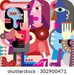 fine art portrait of three... | Shutterstock .eps vector #302900471