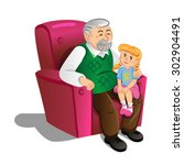 grandfather with granddaughter. ... | Shutterstock .eps vector #302904491