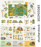 Camping Infographic Set With...