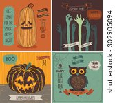 Halloween Cards Set. Vector...