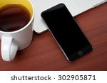 coffee work table with mobile... | Shutterstock . vector #302905871