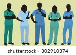 nurses or surgeons wearing... | Shutterstock .eps vector #302910374