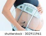 weight gain during pregnancy...   Shutterstock . vector #302911961