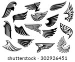 vintage isolated heraldic wings ... | Shutterstock .eps vector #302926451